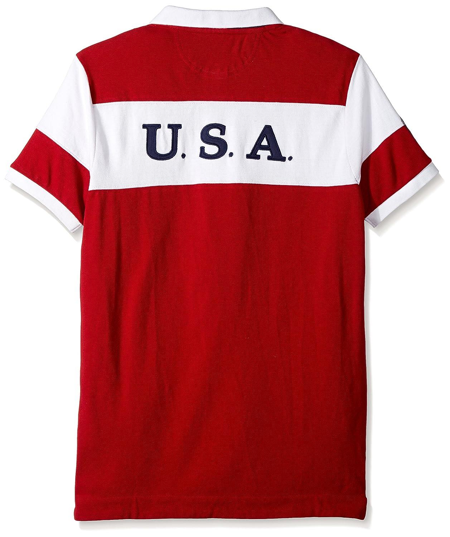 U.S Mens Slim Fit Color Block Short Sleeve Pique Polo Shirt Polo Assn