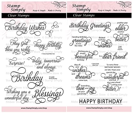 Amazon Stamp Simply Clear Stamps Happy Birthday Sentiments And