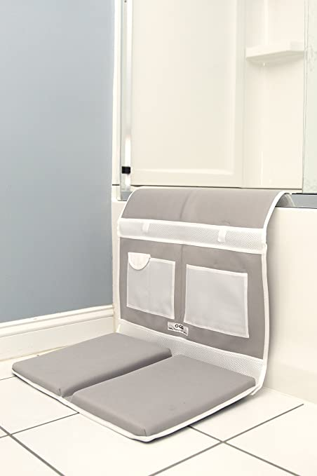 Premium Baby Bath Kneeler with Elbow Rest for Parents - Non Slip, Thick Pads, Storage Pockets
