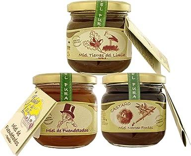 Pack de 3 botes de miel pura/cruda - formato 250gr. c/u; de: Tomillo, Roble, y Castaño: Amazon.es: Alimentación y bebidas