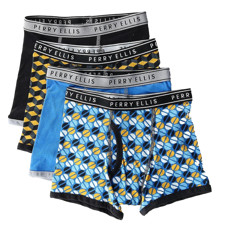 Perry Ellis Boy's Cotton Boxer Briefs Underwear (4 Pair Pack)