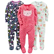 Simple Joys by Carter's Baby Girls' 3-Pack Snug-Fit Footed Cotton Pajamas, Sweets/Floral/Kitty, 6-9 Months