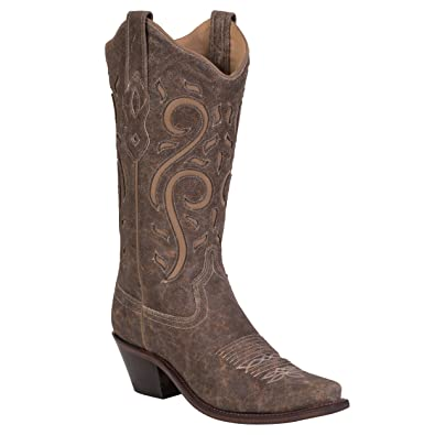 Women's Distressed Scroll Western Cowgirl Boot Snip Toe - Lf1577