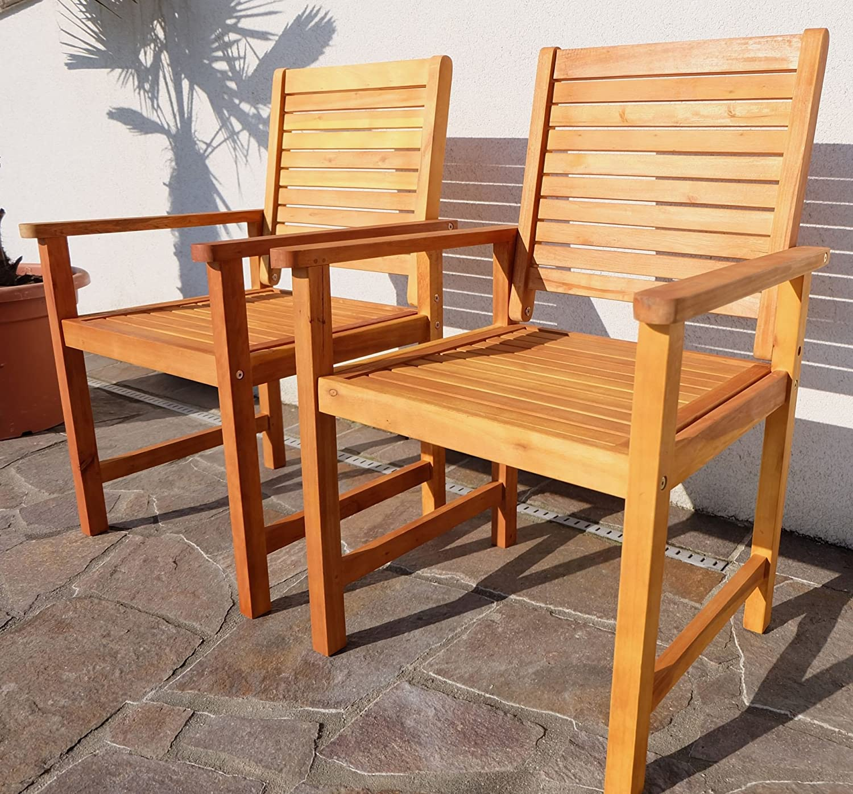 2x Design Gartensessel Gartenstuhl Sessel Holzsessel Gartenmöbel Holz  Eukalyptus W.Teak Modell: U0027SARIA