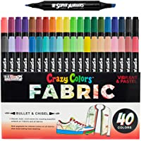 Super Markers 40 Unique Primary & Pastel Colors Dual Tip Fabric & T-Shirt Marker Set - Double-Ended Fabric Markers with Chisel Point and Fine Point Tips - 40 Permanent Ink Vibrant and Bold Colors