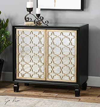 Quatrefoil Lattice Mirrored Console Cabinet | Black Shelves Contemporary  Sofa Table