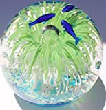 Murano Design Dolphins in Blue and Multicolor Bubbles Paperweight