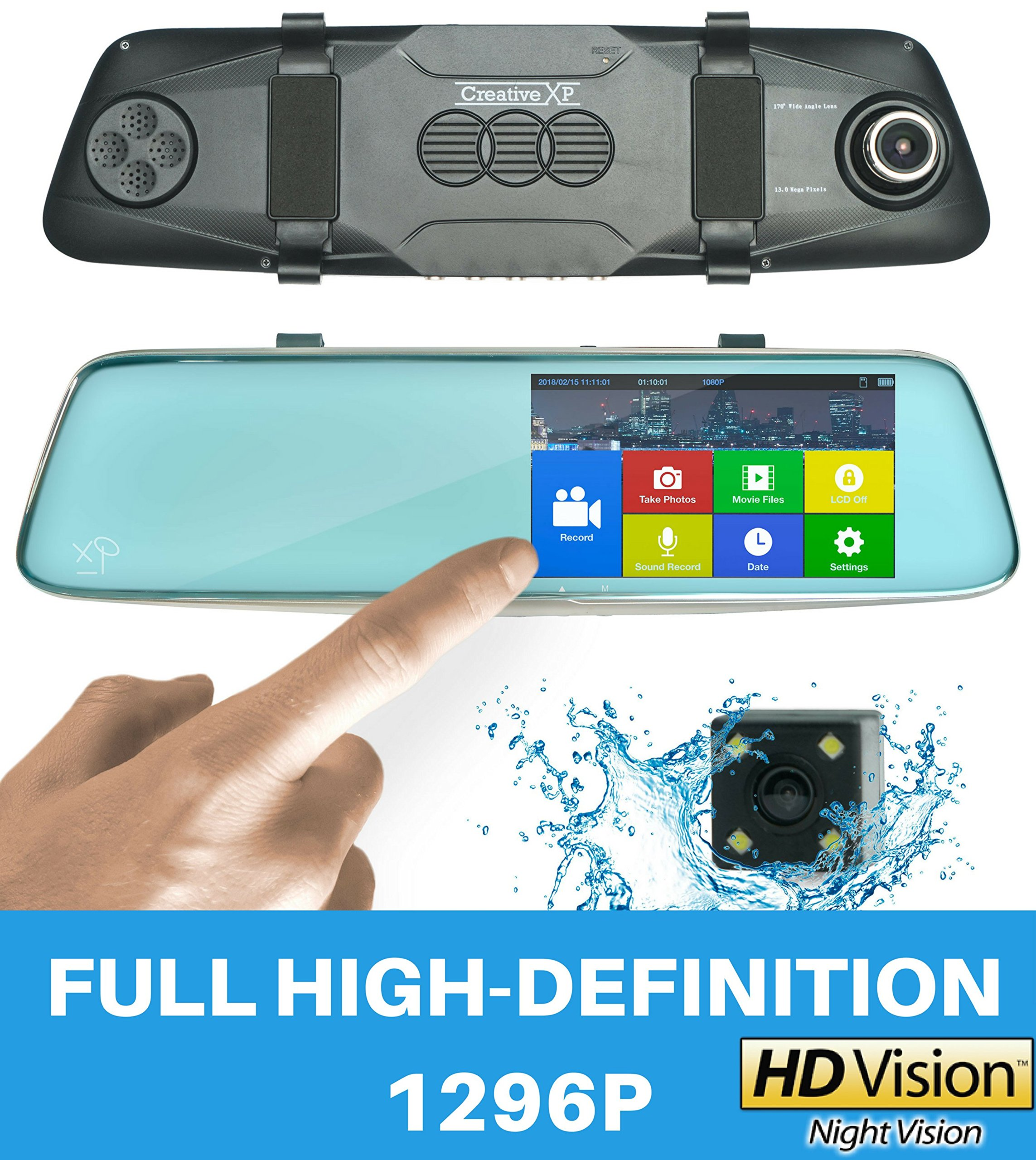 "Mirror Dash Cam Pro 13MP | 1296P Full HD Car Camera Front and Rear | Dash Cam Hardwire Kit | 5"" Touch Dual View Dashcam with SONY Night Vision, Backup Parking and Loop Recording"