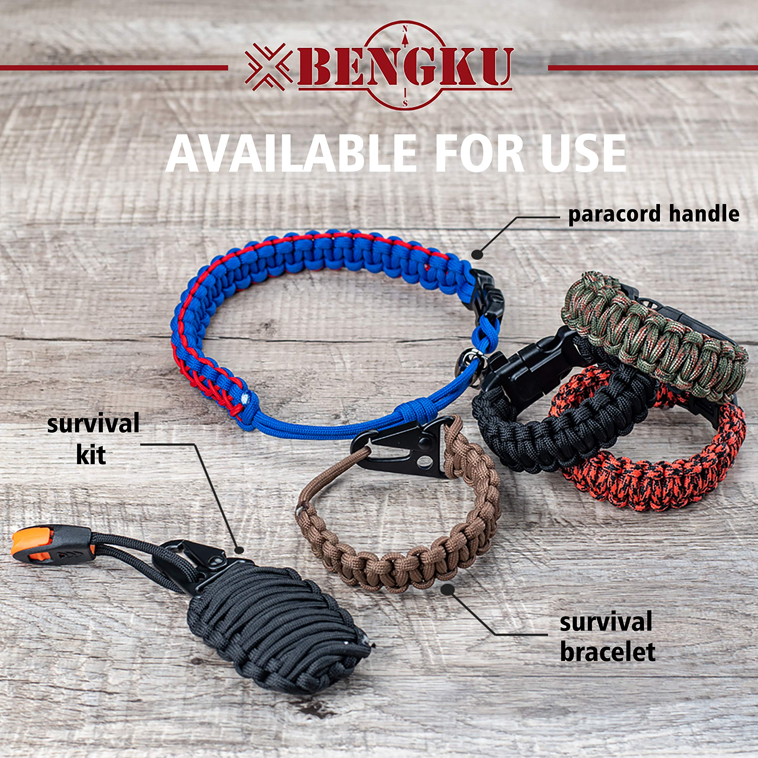 BENGKU Outdoor Survival Mil-SPEC 550lb Paracord/Parachute Cord(MIl-C-5040-H),100Feet,100% Nylon. (Black, 100) by BENGKU (Image #6)