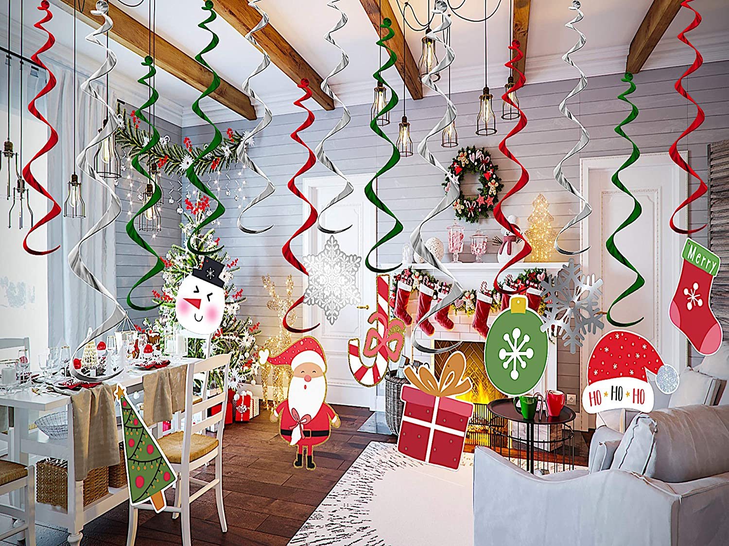 Amerilandtech1 Christmas Hanging Ceiling Decorations 60-Pack, Christmas Snowflake Hanging Swirl Decorations, Green Red Foil Garland Christmas Decorations Party Supplies