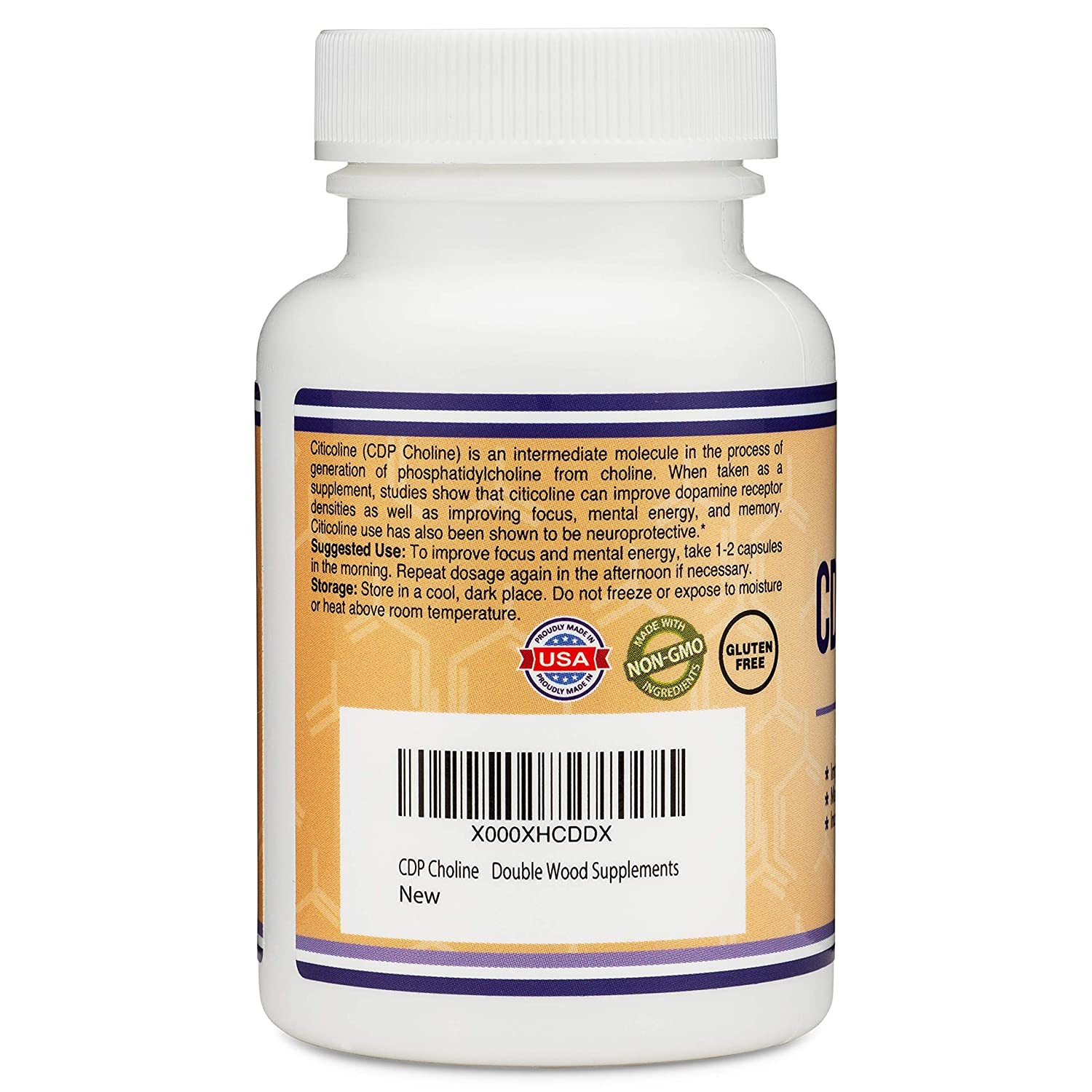 CDP Choline (Citicoline) Supplement, Pharmaceutical Grade, Made in USA (60  Capsules 300mg)