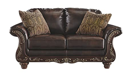 Ashley Furniture Signature Design   Vanceton Loveseat   Ornate Traditional  Sofa   Antique Brown