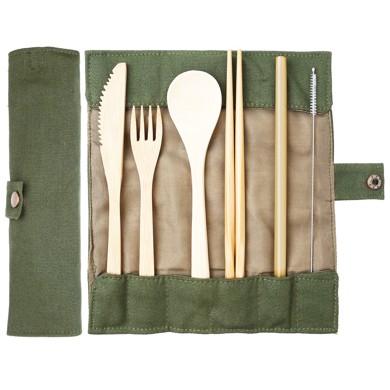 Jovitec Bamboo Travel Utensils Bamboo Cutlery Set Camping Cutlery with Knife, Fork, Spoon, Chopsticks, Bamboo Straw, Suction Brush and Travel Pouch