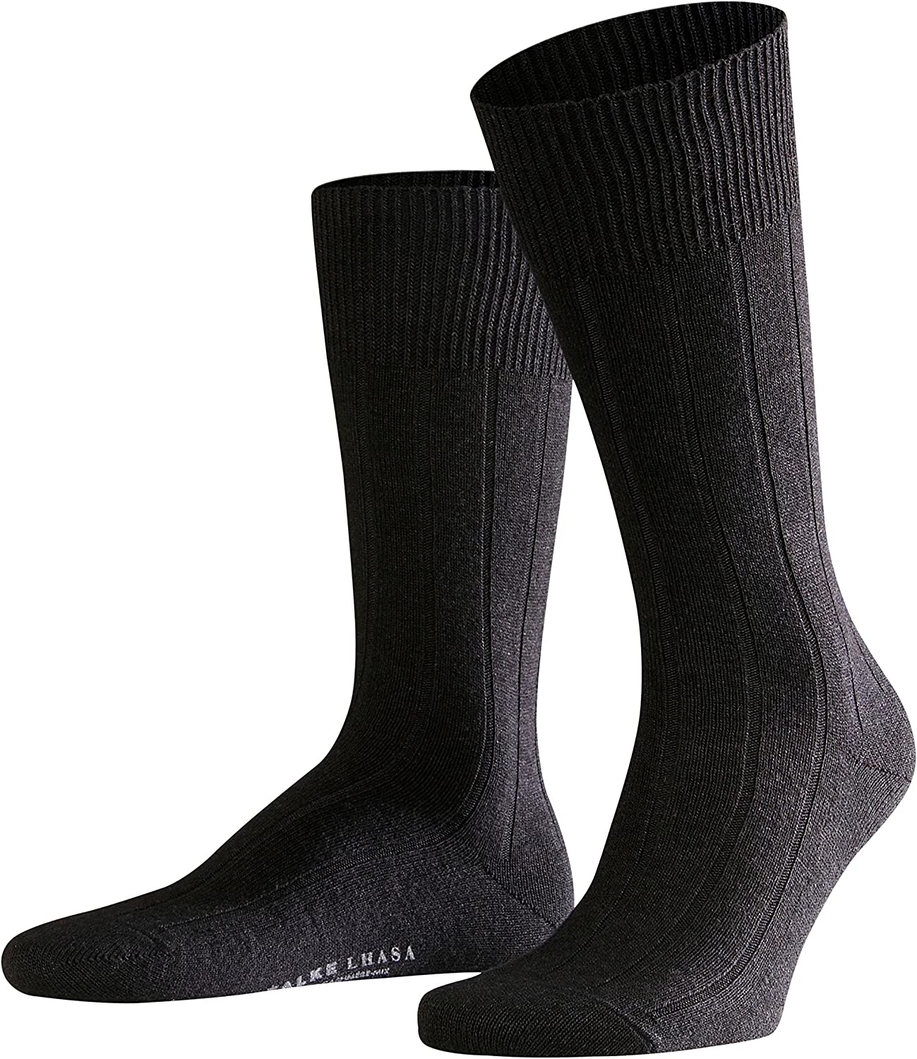 FALKE Mens Lhasa Rib Casual Sock - Wool/Cashmere Blend, In Black, Grey or Navy Blue, US sizes 6.5 to 15, 1 Pair