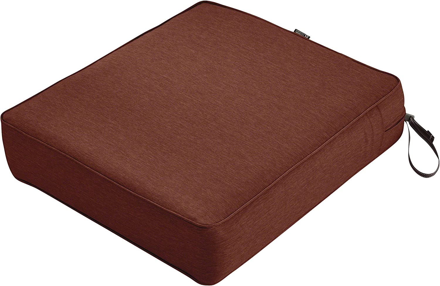 Classic Accessories Montlake Water-Resistant 23 x 25 x 5 Inch Rectangle Outdoor Seat Cushion, Patio Furniture Chair Cushion, Heather Henna Red