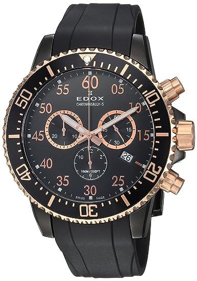 Edox Reloj Cronógrafo para Hombre de Cuarzo con Correa en Caucho 10227-357RNCA-NBR