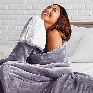 Bare Home Sherpa Fleece Blanket - Twin/Twin Extra Long - Fluffy & Soft Plush Bed Blanket - Hypoallergenic - Reversible - Lightweight (Twin/Twin XL, Dusty Purple)