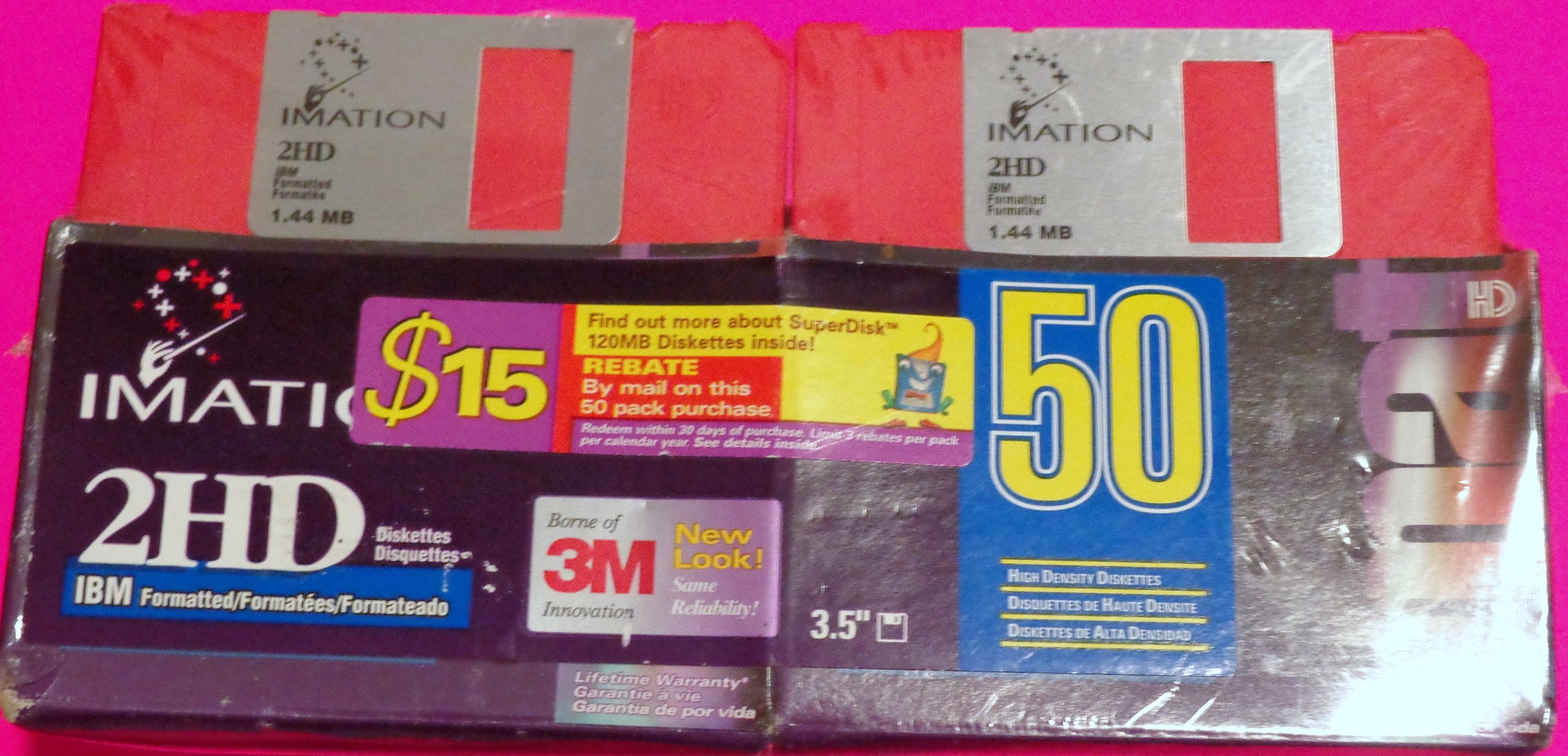 Imation 50 Pack Rainbow Color 3.5'' Floppy Diskettes 1.4mb 2HD