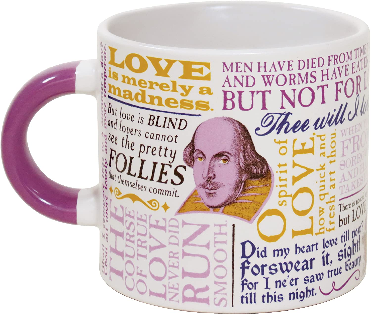 Amazon Com Shakespeare Love Coffee Mug Shakespeares Most Famous Quotes About Love All In One Place Comes In A Fun Gift Box Kitchen Dining