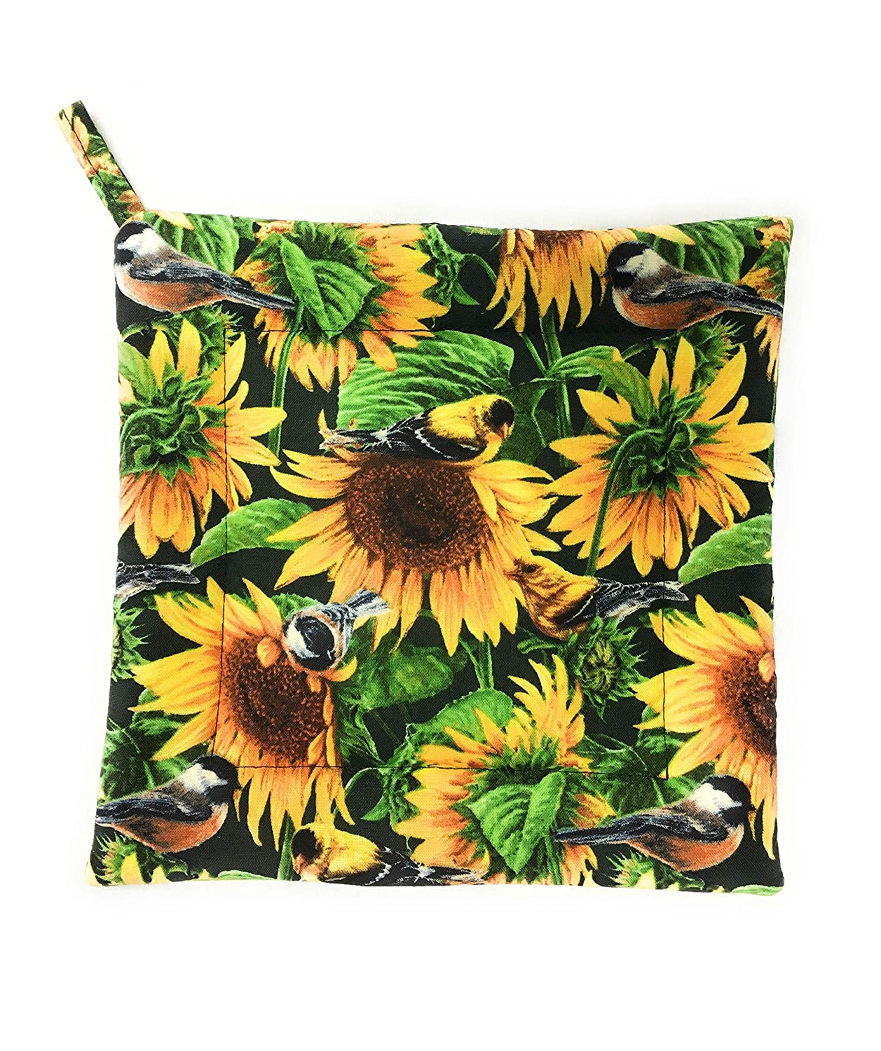 Sunflowers and Birds with Green Leaves Leaf Hot Pot Pan Plate Holder Hot Pad Trivet