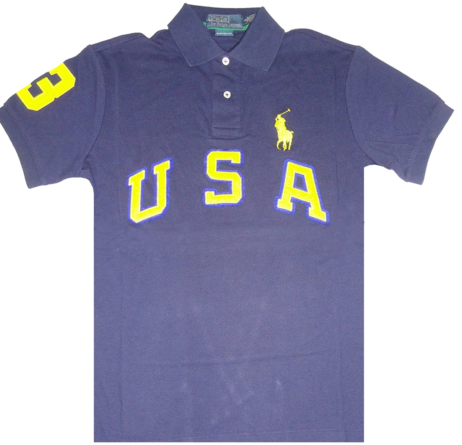 Polo By Ralph Lauren Mens Short Sleeve Usa Big Pony French Navy