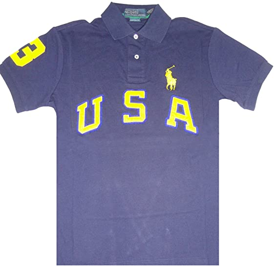 ac95373afbc Image Unavailable. Image not available for. Color  Polo by Ralph Lauren  Mens Short Sleeve USA Big Pony French ...