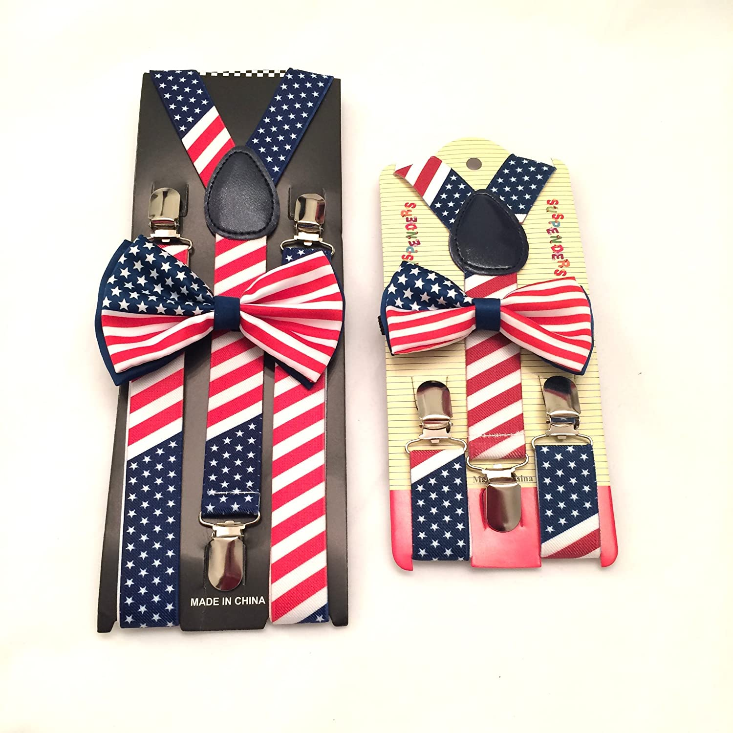 American Flag Freedom Suspenders /& Bow Tie Father Son Set