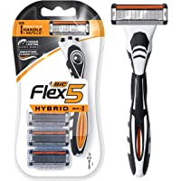 BIC Flex 5 Hybrid Men's 5-Blade Disposable Razor Shaving Kit, 1 Handle and 3 Cartridges