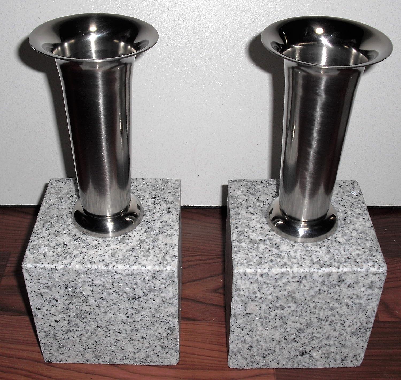 ボウフラ防止銅板加工 ネジ式ステン花立 御影石 台座付そのまま置いて使用可(設置資材付) 一対(二本) B01KK8EBVU