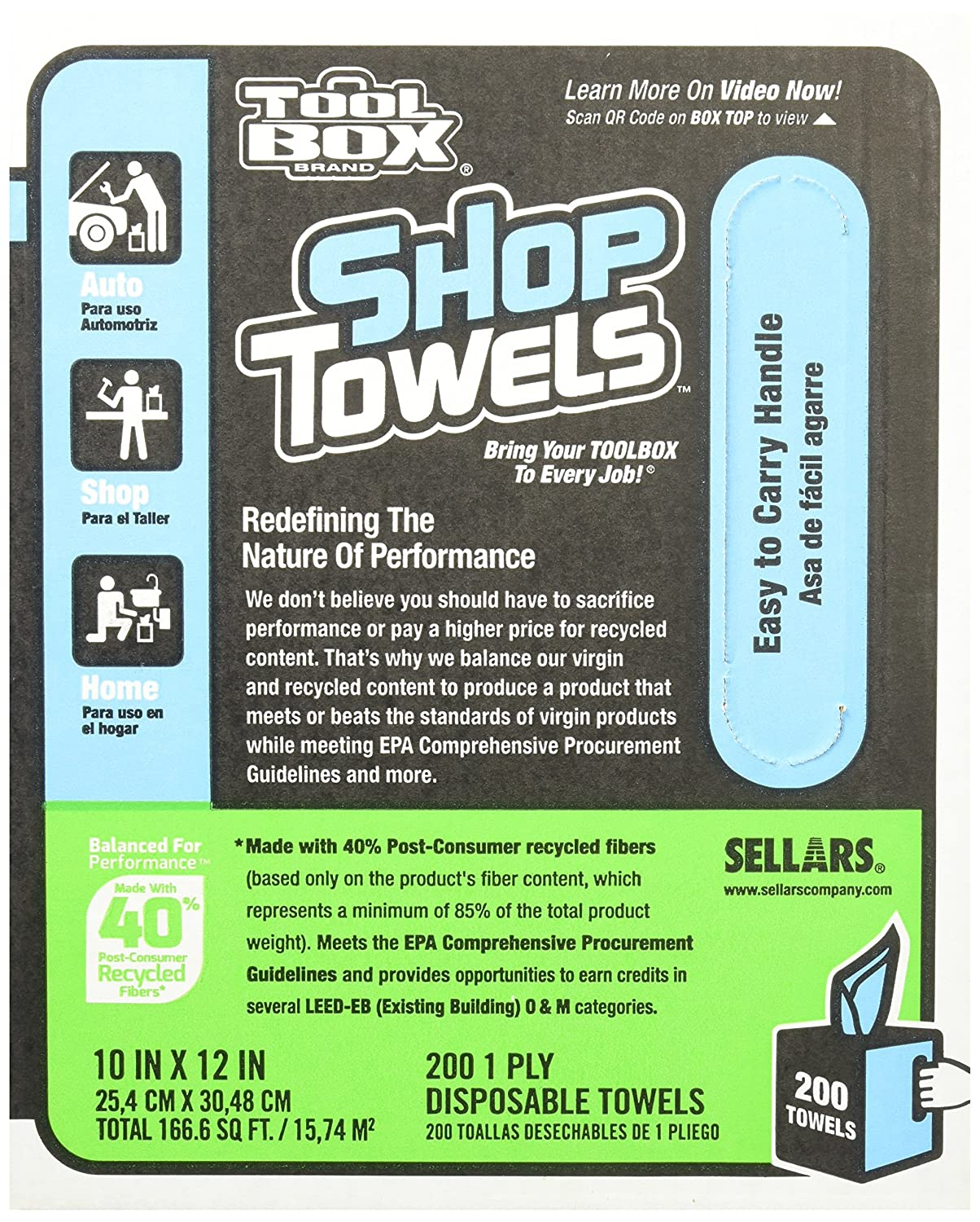 Amazon.com: Sellars 55202 ToolBox Shop Towels Box, 10