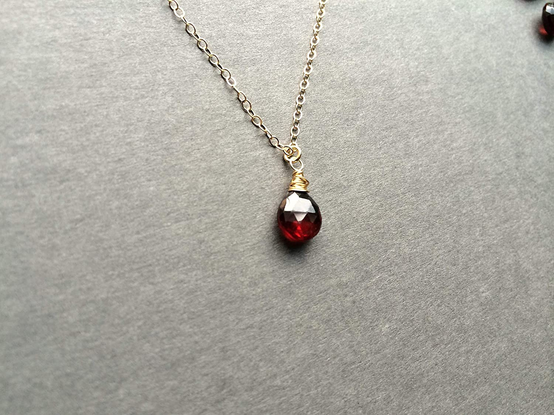 ON SALE Garnet Birthstone Pendant 16 Inch Gold Tone Chain Garnet Gold Tone Pendant Small Pendant Vintage 1970 Necklace January Birthstone