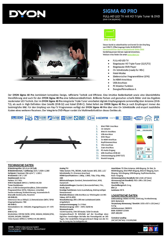 Dyon Sigma 40 Pro 101,6 cm (40 Zoll) LED Fernseher (Full