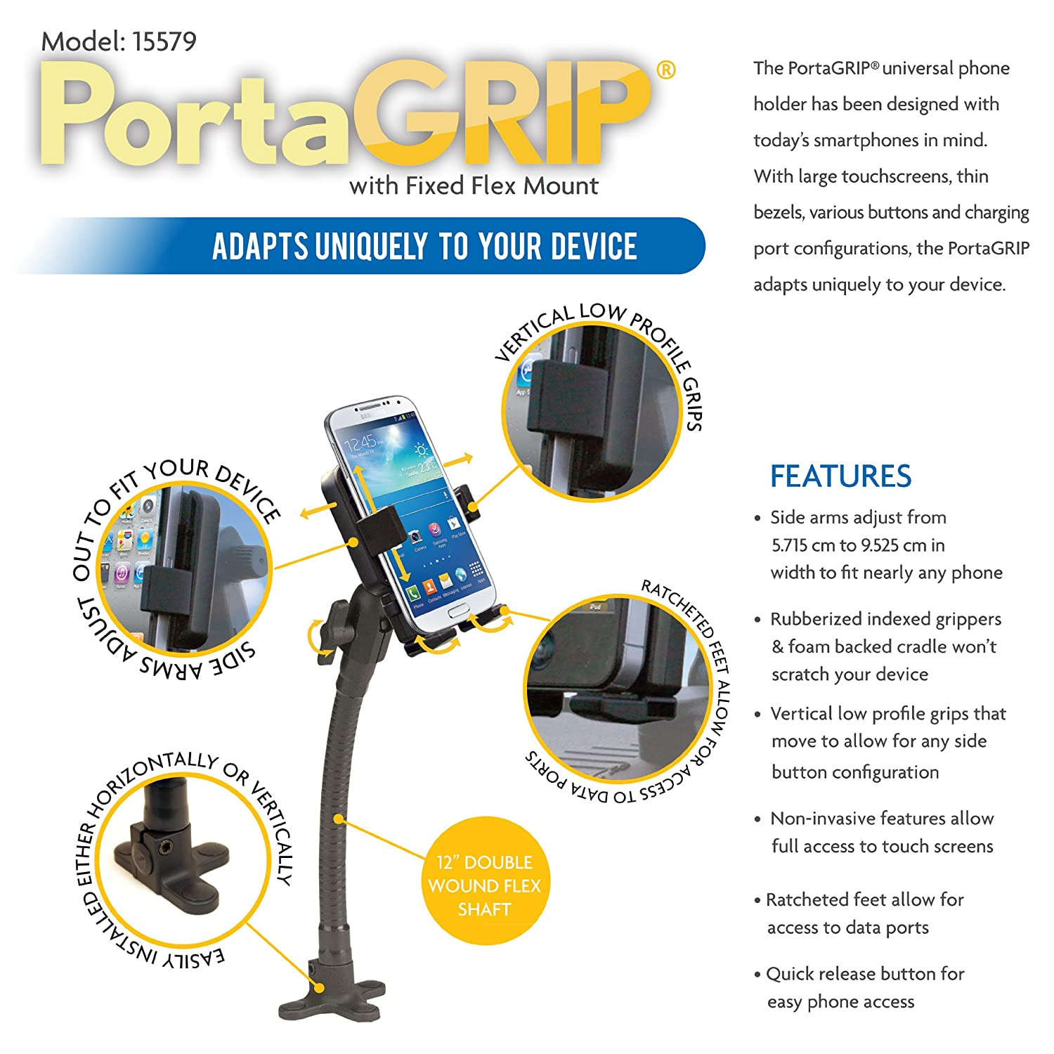 Panavise PortaGrip Phone Holder with 797-12 Uniflex Mount 15579
