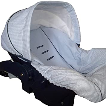 Infant Car Seat Cover Baby Slip Blue Seersucker Accented