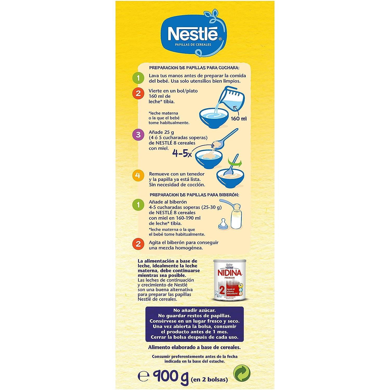 Nestlé Papilla 8 cereales con Miel - Alimento Para bebés - Paquete de 8x900 g - Total: 7.2 kg: Amazon.es: Alimentación y bebidas