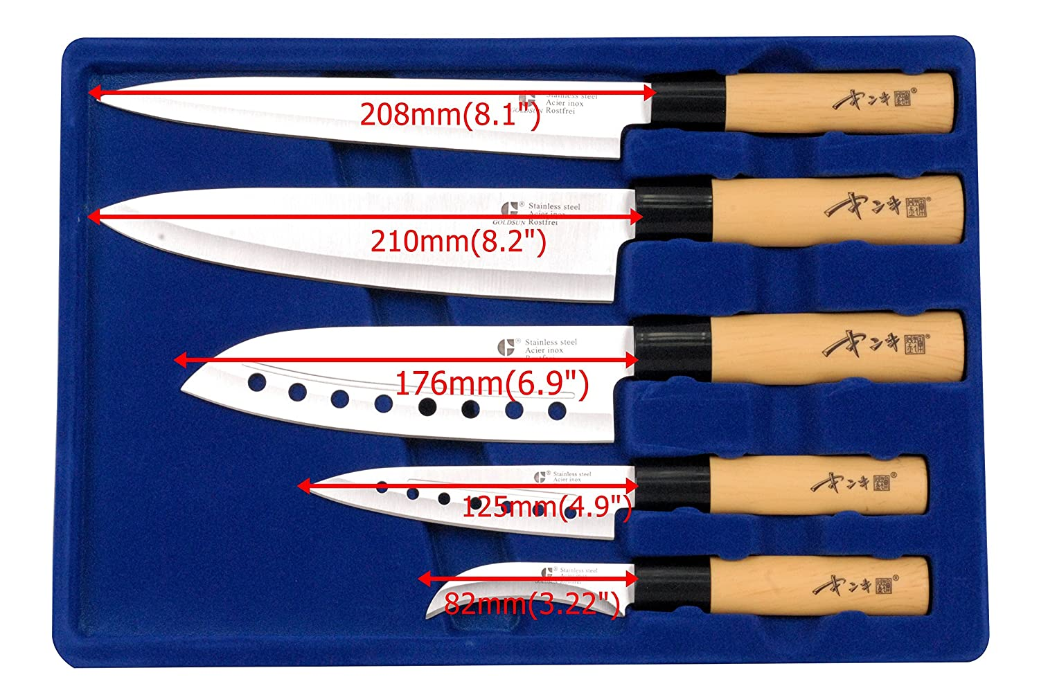 Amazon.com: goldsun acero inoxidable de Chef japonés Sashimi ...