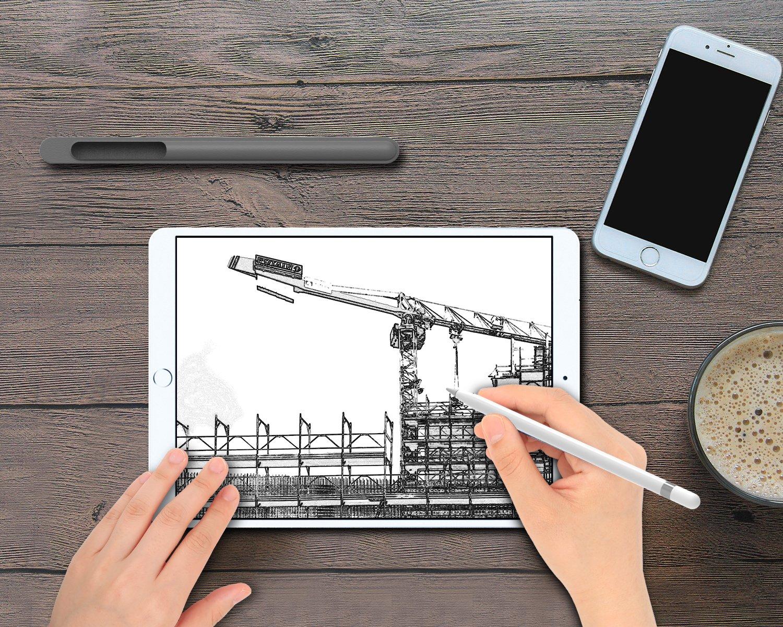 /& iPad Air 2019 10.5, 3rd Generation TiMOVO iPad mini 5 2019 7.9, 5th Generation Gris Espacial con Apple Pencil Holder Funda -Cuero Genuina Apple Pencil Funda Soporte Protectora de Bolsa de L/ápiz