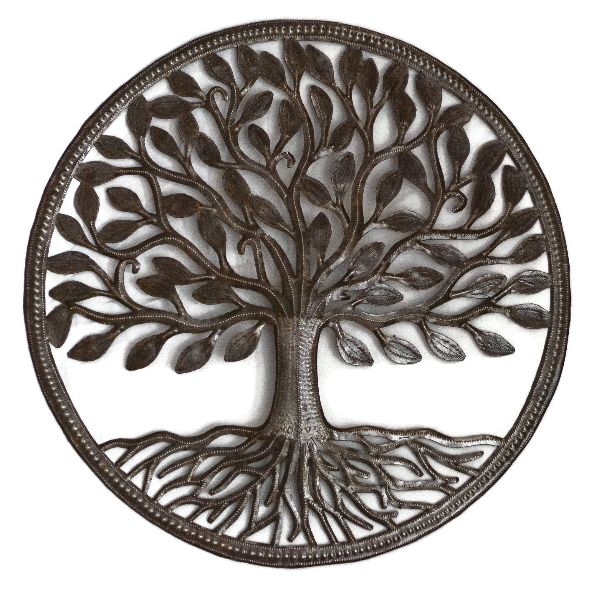 Haitian Steel Drum Organic Tree of Life 23 x 23 inches Recycled Metal Art from Haiti, Decorative Wall Hanging Fair Trade Federation Certified by it's cactus - metal art haiti