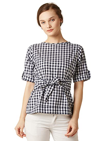 bd2d54baccff71 Miss Chase Women s Checkered Regular Fit Top  (MCAW17TP08-85-178 Multicolor X-Small)