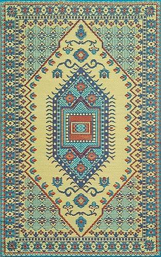 Mad Mat Oriental Turkish Indoor Outdoor Reversible Floor Mat 4 by 6 Feet Plum