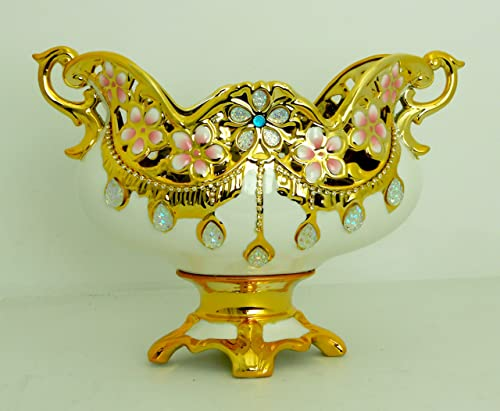 Gold White Pedestal Bowl with Gold Handle Home Decorative
