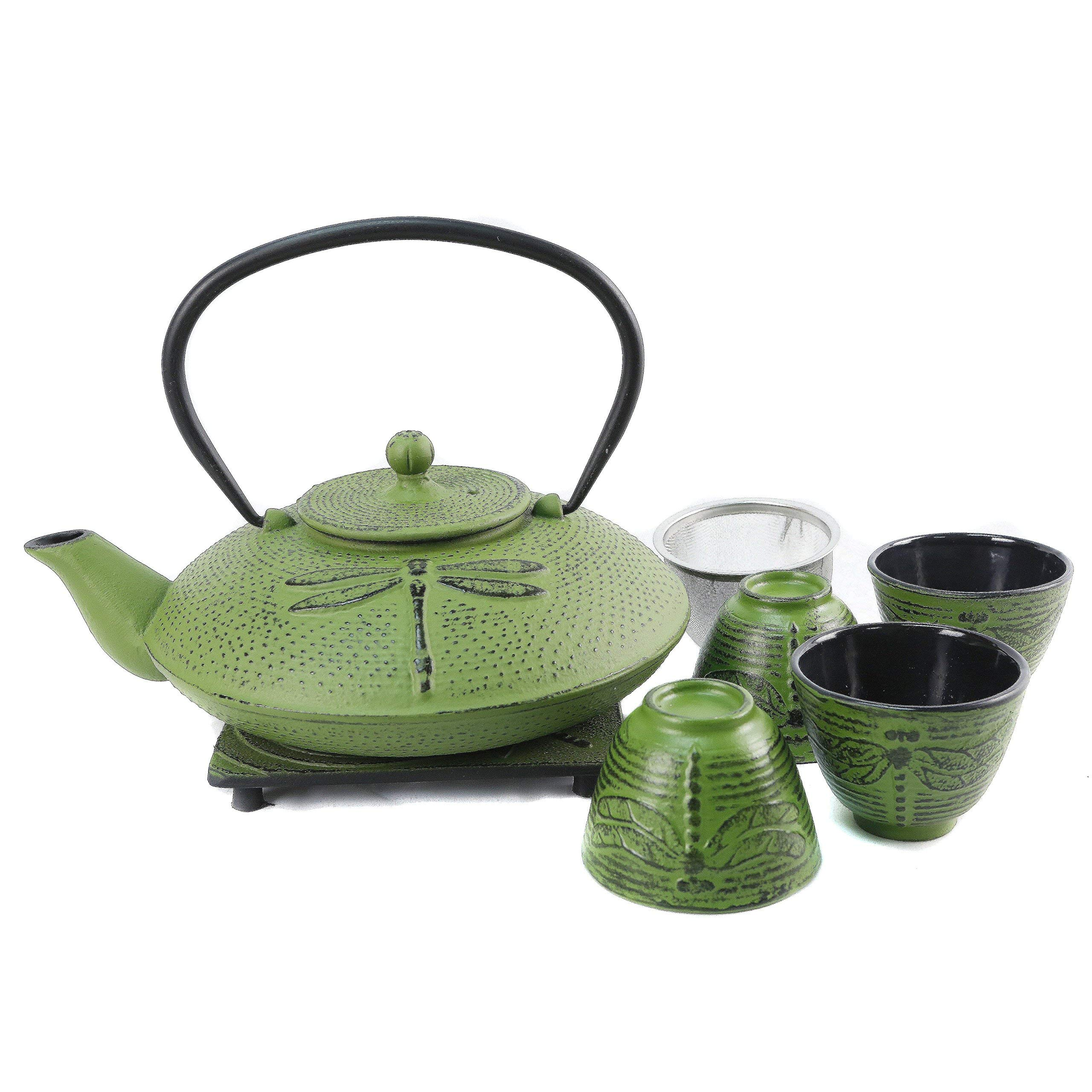 Cuisiland Dragonfly Cast Iron Teapot Set with 4 Cups 37oz Green