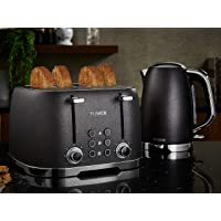 Tower Black Glitz Jug Kettle and 4 Slice Toaster Set - 1.7Ltr - 3Kw - Stainless Steel