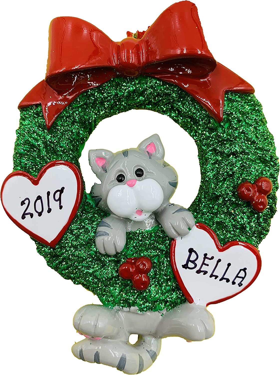 Cat Christmas Ornament 2020 Amazon.com: Personalized Gray Tabby Cat Christmas Ornament 2020