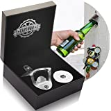 Bottle Opener Wall Mounted with Magnetic Cap Catcher - Stainless Steel - by CAPLORD, Easy to Mount + Comes Gift Ready for Beer Lovers, Excellent Birthday & Anniversary Gifts for Men