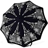 Compact Travel Umbrella - Windproof Water Repellent Teflon Coating - Auto Open Close