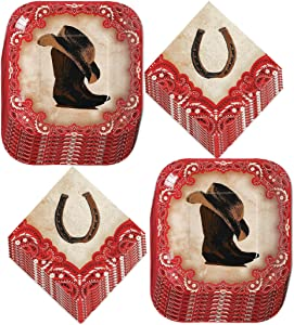 Western Party Supplies - Cowboy Hat and Boot Paper Dessert Plates and Horseshoe Beverage Napkins (Serves 16)