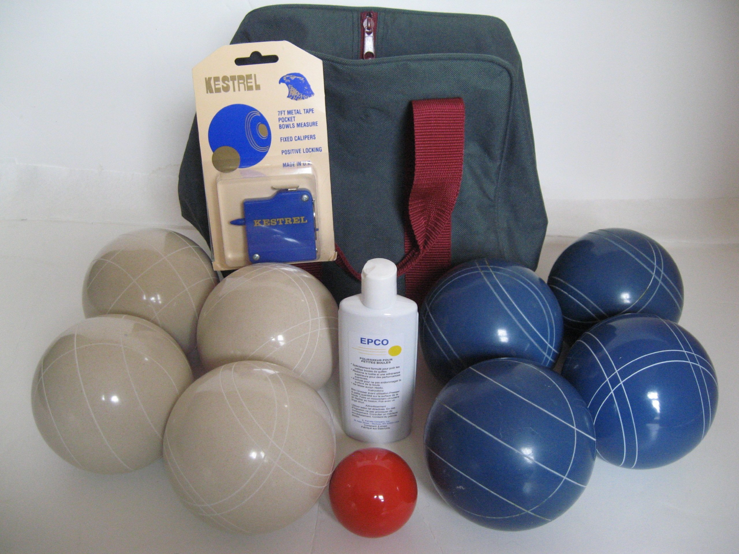 Premium Quality Basic EPCO Bocce package - 110mm White and Blue balls, quality nylon bag, mea... by Epco