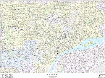 Amazon Com Detroit Michigan Landscape 48 X 36 Paper Wall Map Office Products