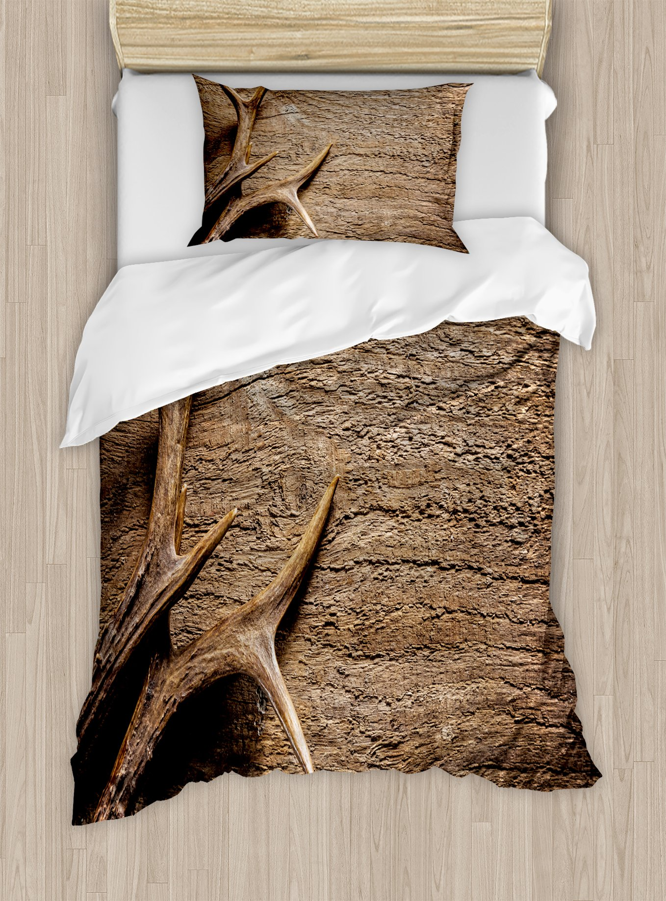 Ambesonne Antlers Duvet Cover Set Twin Size, Deer Antlers on Wood Table Rustic Texture Surface Hunting Season Fall Gathering Art, Decorative 2 Piece Bedding Set with 1 Pillow Sham, Umber